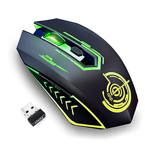 Mouse Gaming wireless Fino a 10000 DPI, Mouse USB Ricaricabile uhuru con 6 Pulsanti 7 LED a Colori Modificabili Ergonomico Programmabile MMO RPG per PC Computer Laptop Gaming Player