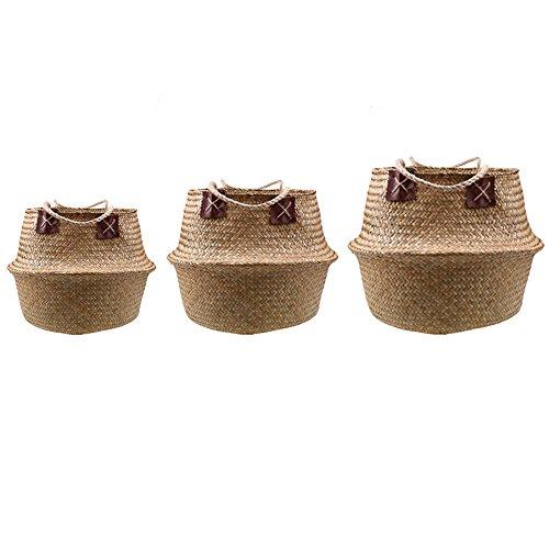 Natürliches Seegras gewebtes Bauchkorb, Goodchanceuk 3/Set Blumentopf Korb mit Griff Garten Wäschekorb Container Home