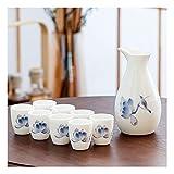Cerámica Vintage vínculo Conjunto japonés Sake Conjunto artesanía Vino Vidrio frío/Caliente/té/Shochu japonés Sake Conjunto Jade Porcelana Vino Copa de Vino (Color : C)