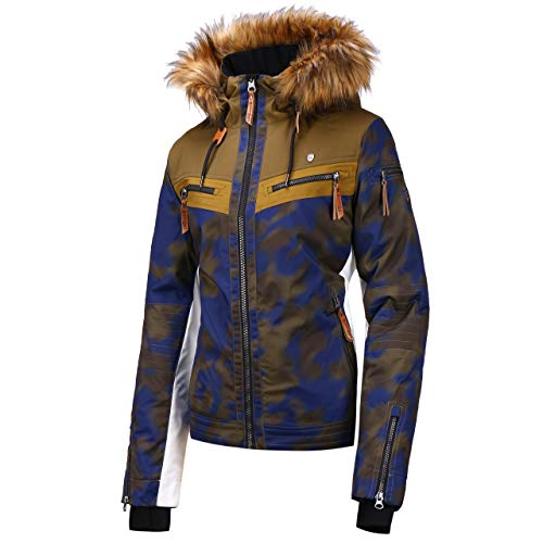Rehall Damen Skijacke Hunter Snowjacket Military camo blau/braun/Weiss - M