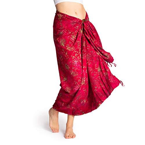 PANASIAM Sarong en tonos rojo y violeta, chal, toalla de playa, vestido envolvente de alta calidad, suave tejido natural B504 Red Flower Talla única