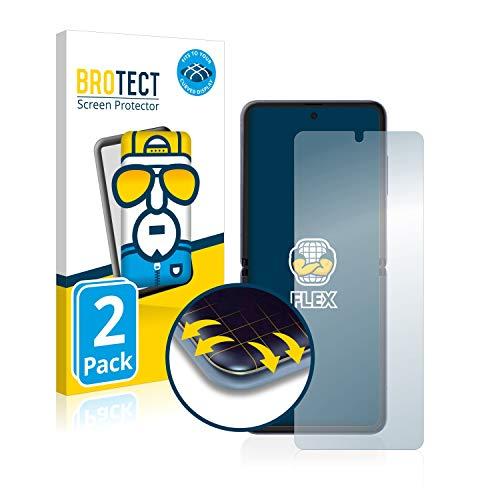 BROTECT Full-Cover Schutzfolie kompatibel mit Samsung Galaxy Z Flip (2 Stück) - Full-Screen Displayschutz-Folie, 3D Curved, Kristall-Klar