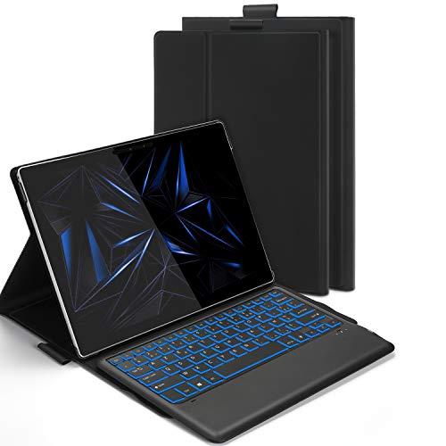 Jelly Comb Etui Clavier Rétroéclairé Bluetooth pour Microsoft Surface Pro 4/5/6/7, Housse Coque de Protection avec Clavier Bluetooth AZERTY Détachable Rechargeable pour Microsoft Tablette, Noir