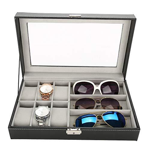 Aufbewahrungsbox für Armbanduhren, PU-Leder, 3 Fächer, Sonnenbrillen, 6 Zellen, Uhren-Display, Organizer, schwarz, 32 x 20 x 8 cm