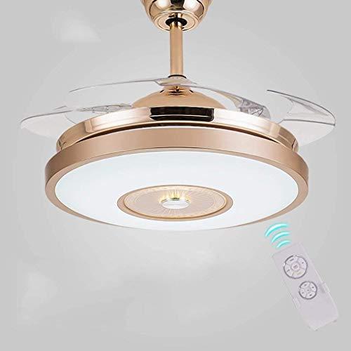 Lámpara de techo decorativa, estilo retro industrial, moderna, ventiladores de techo invisibles con lámpara, ventilador, lámpara de techo a distancia con ventilador eléctrico. Iluminación de