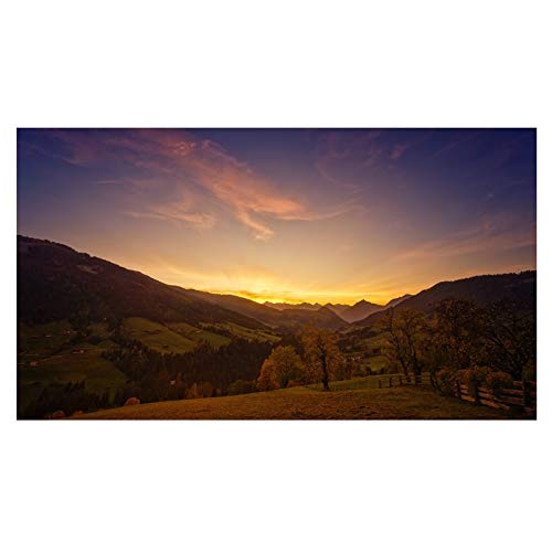 WSWWYnuvola e Albero di Montagna Tramonto Paesaggio Stampa Tela Pittura Poster Quadri Moderni Foto murali per Soggiorno Decorazione A560x105cm Senza Cornice