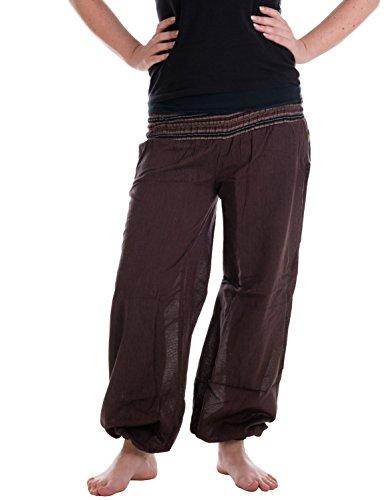 Vishes - Alternative Bekleidung - Sommer Chino Haremshose aus Baumwolle mit super elastischem Bund - handgewebt Dunkelbraun