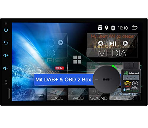 "Tristan Auron BT2D7018A Android 10 Autoradio mit Navi + OBD 2 und DAB Plus Box I 7\"" Touchscreen GPS Bluetooth Freisprecheinrichtung I 32GB USB SD 2 DIN"