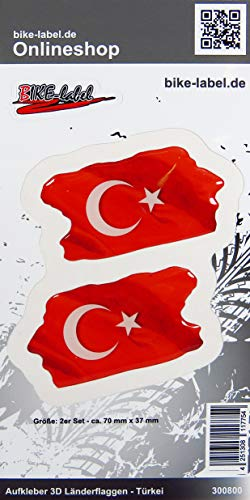 Bike Label 300800N sticker 3D land vlaggen Turkije Turkey 2 stuks 70 x 37mm