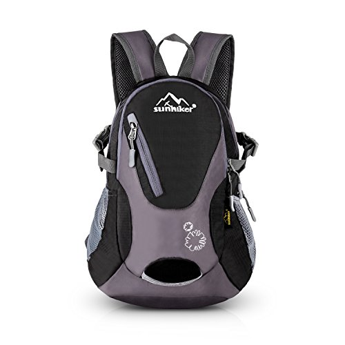 Cycling Hiking Backpack Sunhiker Water Resistant Travel Backpack Lightweight SMALL Daypack M0714 (Black)