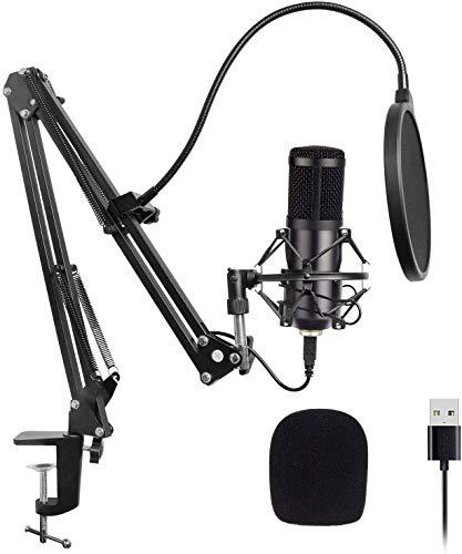 Kondensator Mikrofone Xpassion USB Mikrofon, PC Laptop Mikrofon mit verstellbarem faltbarem Mikrofonständer Kit für Podcast, Studio, Streaming, Broadcast, youTube, Video, Recorder