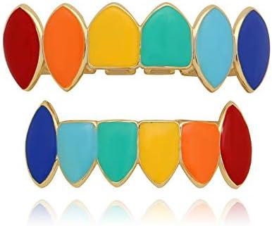 OOCC 18K Gold Plated Raindow Grills Nightclub Hip Hop Teeth Fangs Grillz Caps Top and Bottom Set for Your Teeth