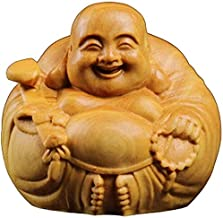 Chinese Feng Shui Decor Yellow Buddha Statues Poplar Wood Laughing Attract Wealth and Good Luck for Home and Office Congra...