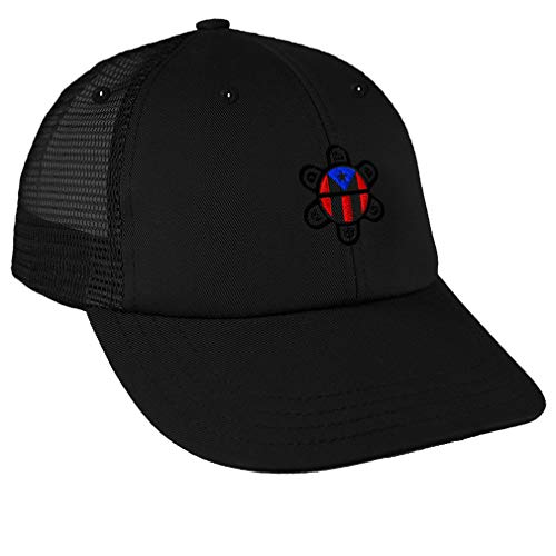 Custom Trucker Hat Baseball Cap Puerto Rico Flag Sol Taino B Embroidery Snaps
