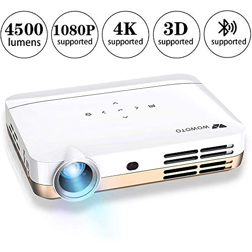 WOWOTO H9 Video Projector, 3500 lumens 3D DLP Projector 1280x800 Support 1080P Full HD, Android 4.4 OS, with Keystone, HDMI, WiFi & Bluetooth