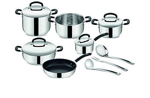 Lagostina Pratique Set de casseroles adaptées à l induction, gris, 13 pièces, acier 18 10