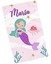 Toallas de Mano y Cara Personalizadas con Nombre (30x50). Regalo Infantil Original para el Colegio, excursiones, Camping, Ejercicio etc. (Toalla Manos Sirena 2)