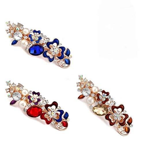 Dusenly Lot de 3 barrettes à cheveux en cristal changeant de couleur bleu, champagne et couleurs mélangées