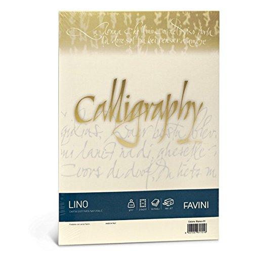 Favini A69Q614 Carta Calligraphy, Effetto Lino, 50 fogli, A4