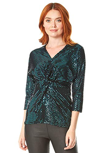 Romeinse Originelen Vrouwen Shimmer Knot Top - Dames Kerstfeest Avond V-hals 3/4 Mouwen Disco Fancy Jurk Glanzende Sparkle Versierd Speciale Gelegenheid Cocktail Tops