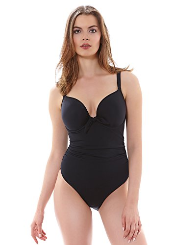Freya Women's Deco Underwire Molded One Piece Swimsuit, Black, 32GG