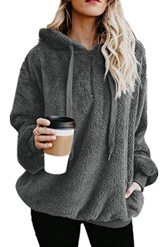 Yanekop Womens Sherpa Pullover Fuzzy Fleece Sweatshirt Oversized Hoodie with Pockets(Dark Gray,S)
