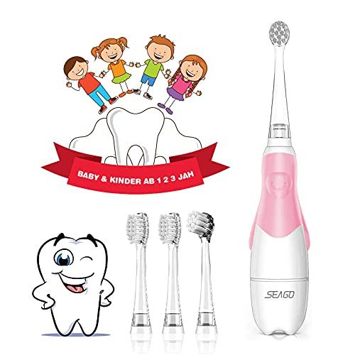 Elektrische Zahnbürste Kinder ab 1 2 3 jahren, SEAGO Baby Zahnbürste mit LED Lampe Timer Batterie Kinderzahnbürste Elektrisch mit Schalltechnologie - 4 Bürstenköpfen,2Minuten Timer,30s Erinnerung Rosa