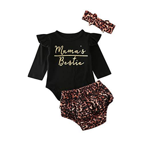 Longfei Mama's Bestie Mama's Bestie - Body con Volantes y Pantalones Cortos de Leopardo