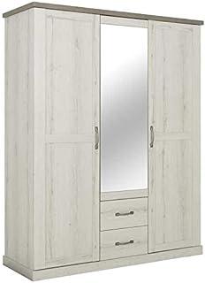 Tousmesmeubles Armoire 3 Portes 2 tiroirs Chêne Blanchi/Béton - Perle - L 166.9 x l 60 x H 208.2 - Neuf