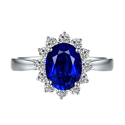 Bishilin Anillo de Oro Blanco 750 Reales Clásico Bandas de Boda Azul Zafiro Diamante Anillo de Compromiso de Boda Ajuste Cómodo Forma Ovalada Anillo de Boda de Compromiso Azul
