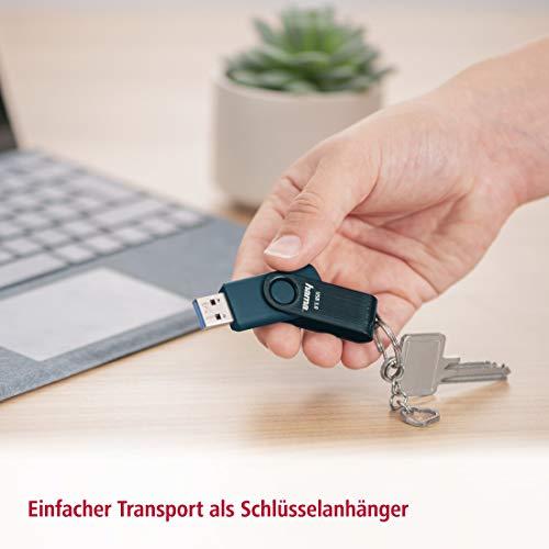 Hama 256 GB USB-Stick USB 3.0 Datenstick (90 MB/s Datentransfer, mit Öse zur Befestigung am Schlüsselring, Speicherstick, Memory Stick aus Metall, geeignet für Windows/MacBook) Petrolblau