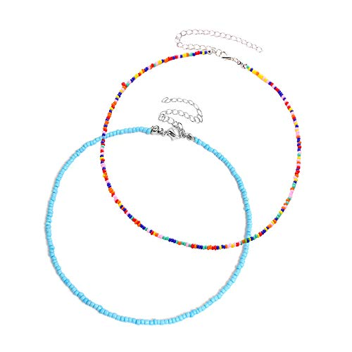 feixun Bead Choker Necklace for Women - Seed Bead Necklaces, Great for Beach, Vacation, Dating, Pool Party (Blue and Colorful Choker Necklaces)