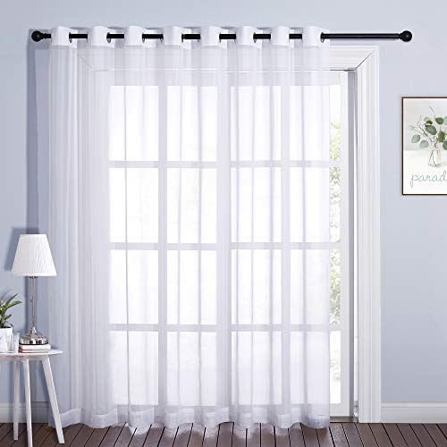 Nicetown - Cortina para puerta corredera extra ancha, con ojales en la parte superior, cortina de gasa transparente, panel de cortina para ventana, tratamiento para vestíbulo/villa/patio, color blanco, 1 pieza, 120 x 84 cm