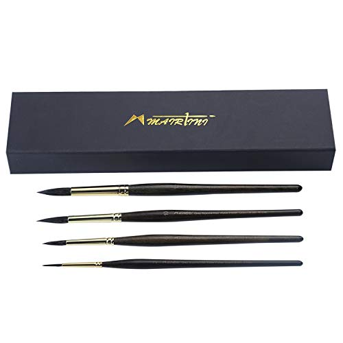 MAIRTINI 4 Pcs Professional Watercolor Brushes - Premium Pure Squirrel Round Brush Set, Wash/Mop - Great for Art Painting, Watercolor & Gouache, Size 2 6 10 12