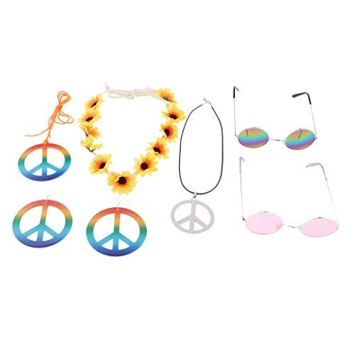 chiwanji Sonnenbrillen, Friedenszeichen Ohrringe und Halskette, Blumen Stirnband für 60 oder 70 Jahre Hippie-Kostüm Zubehör