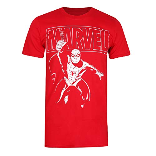 Marvel Spiderman Logo Swing Camiseta, Rojo (Cherry Red Red),