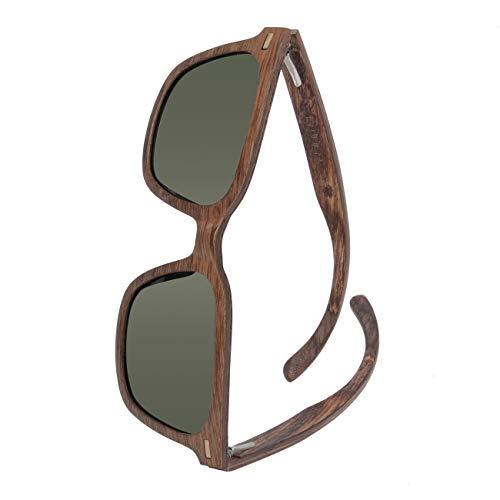 WOLA Sonnenbrille Holz eckig für Damen und Herren HELIOs eckige Holzbrille polarisiert für Männer und Frauen Walnuss