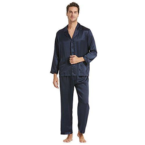 LilySilk Seide Pyjama Herren Nachtwäsche Unifarbe Elegant 22 Momme - M Dunkel Blau