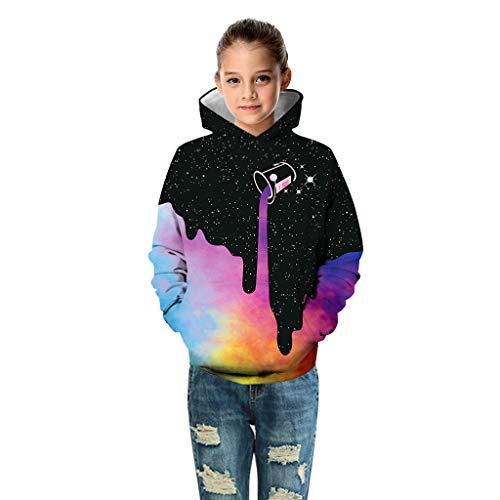 Shenye Hoodies Teen Kids Girl Boy Galaxy Print Cartoon Sweatshirt Pocket Pullover Hoodie for 4-13Y Teen Black