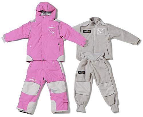 Kindihääs - Kinder 4in1 Skianzug Regenanzug Fleeceanzug - Jungen Mädchen Unisex Schneeanzug wasserdicht - 4tlg Jacke & Hose - Rose Gr. 104/110