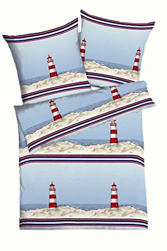 Kaeppel Edel Seersucker Bettwäsche Leuchtturm marine 1 x 80x80 + 1 x 135x200 cm