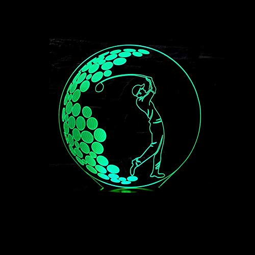 YOUPING Lámpara de ilusión 3D LED Luz de Noche Visual Tereo Golf Luces Táctil Control Remoto Centro Comercial Lámpara de Escritorio USB Niños