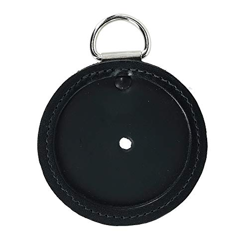 Ascentix Round K-9 US Leather Badge with D-Ring for Dogs, Black