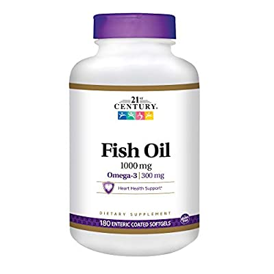 21st Century Fish Oil 1000 Mg Enteric Coated Softgels, 180Count