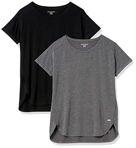 Amazon Essentials Studio Relaxed-fit Lightweight Crewneck T-Shirt Camiseta, Paquete de 2 Negro/Carbón, S