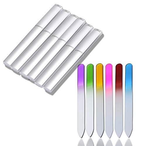 CAREOR 6 Stück Glas-Nagelfeilen mit Etui – Kristallglas Nagelfeilen Set Glas Fingernagelfeilen für Natur- & Acrylnägel Doppelseitige Nagelpflege