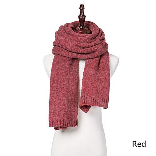 DJSHXC Schal 2019 Frauen Schal Wolle rechteckigen Schal Stricken Volltonfarbe Damen Langen Schal warm im Herbst und Winter, Style 2