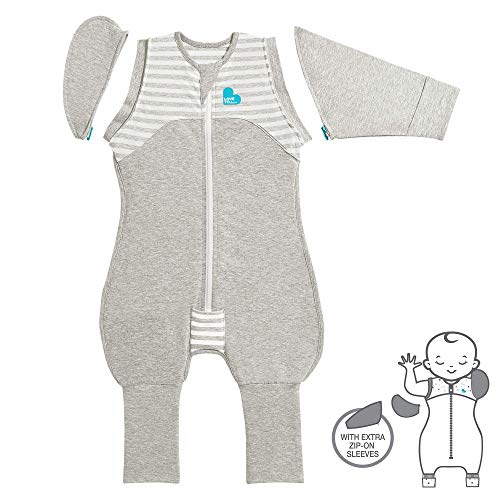 Love To Dream Swaddle UP Transition Suit 1.0 TOG, Gray, Medium, 13-19 lbs, Patented Zip-Off Wings and Unique Self-Soothing Sleeves, Safely Transition from Swaddled to Arms-Free Before Rolling Over
