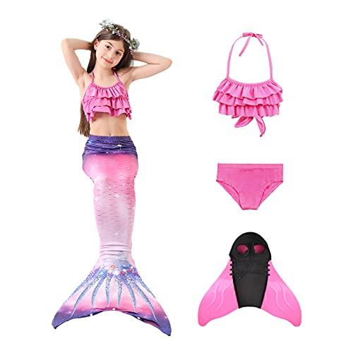 AGUDOU Cola de Sirena Niña,Sirena Baño,Disfraz de Bikini Princesa Sirena para Niñas, para Fiesta...