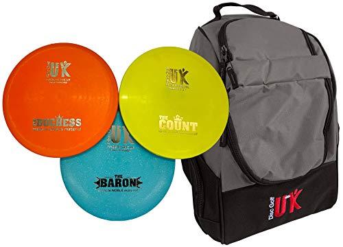Disc Golf UK Starter Set 3 Scheiben – Frisbees mit DGUK Chariot Tasche Frisbee Golf